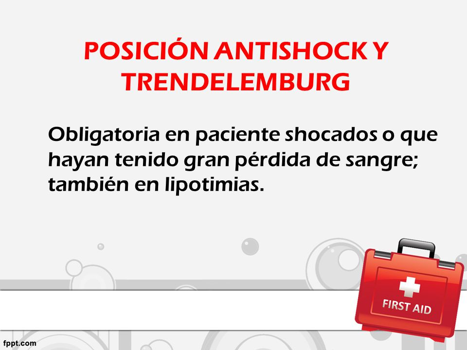 POSICIÓN ANTISHOCK Y TRENDELEMBURG