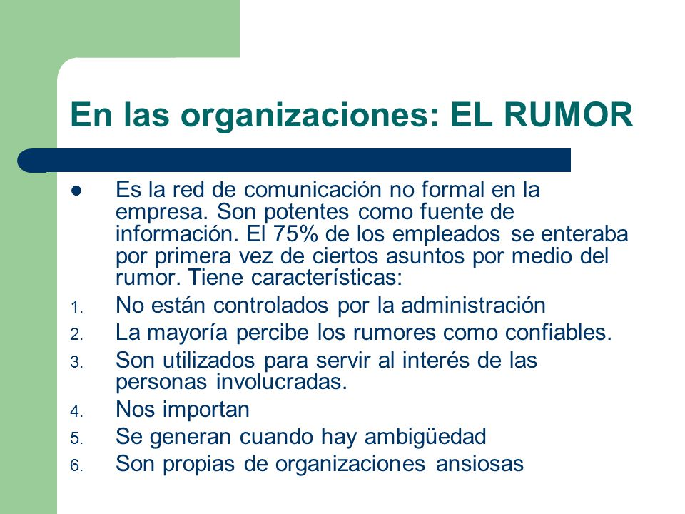 En las organizaciones: EL RUMOR