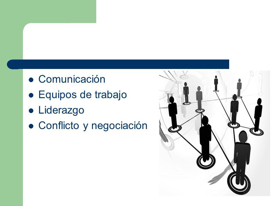 Comunicación Equipos de trabajo Liderazgo Conflicto y negociación