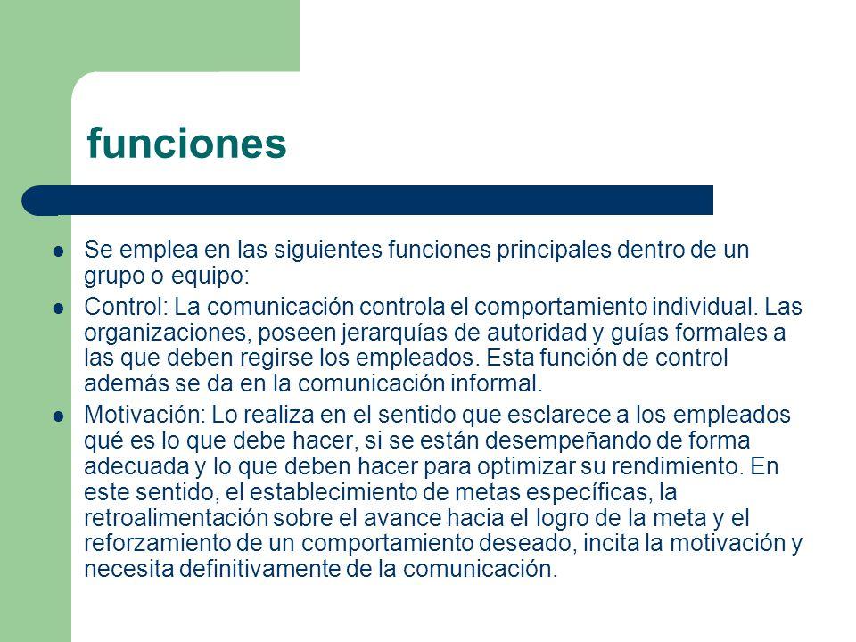funciones Se emplea en las siguientes funciones principales dentro de un grupo o equipo:
