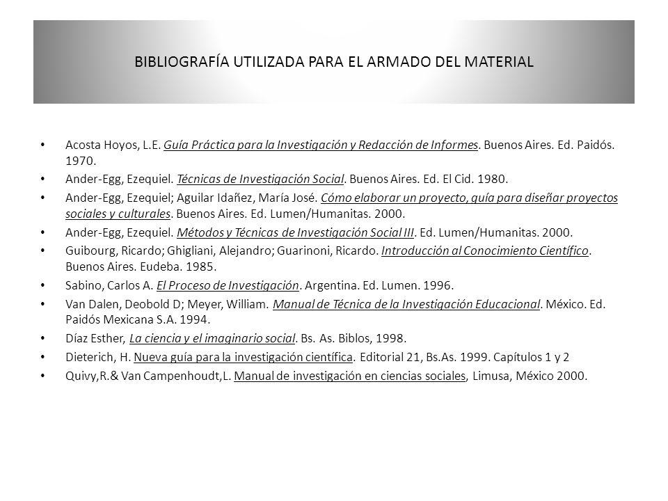 BIBLIOGRAFÍA UTILIZADA PARA EL ARMADO DEL MATERIAL