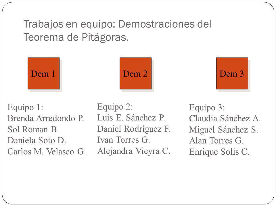 Trabajos en equipo: Demostraciones del Teorema de Pitágoras.