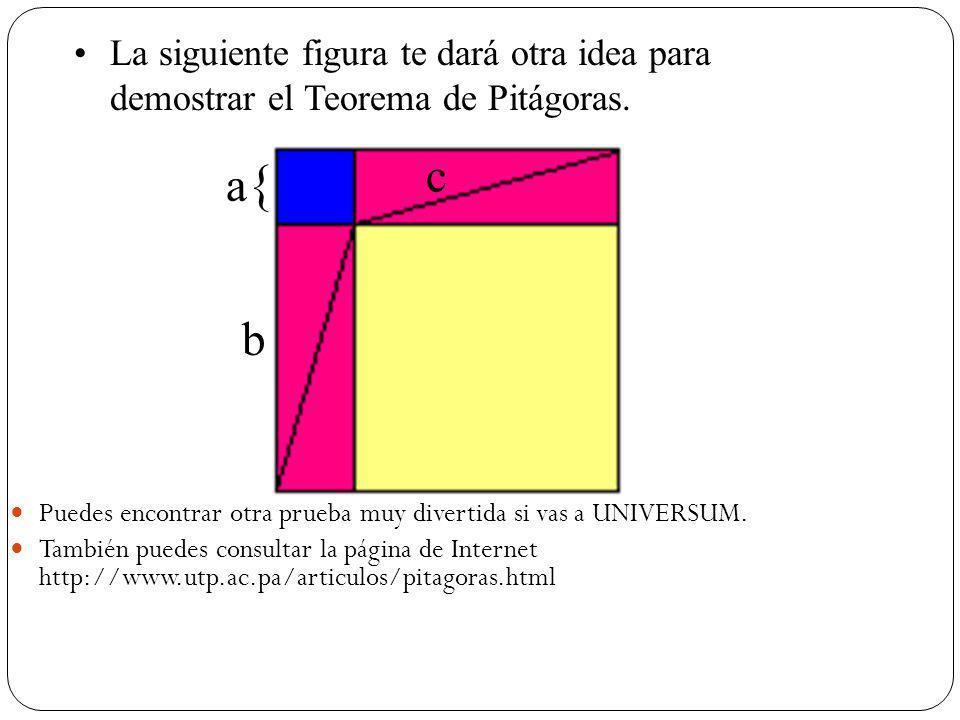 La siguiente figura te dará otra idea para demostrar el Teorema de Pitágoras.