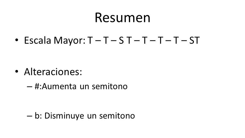 Resumen Escala Mayor: T – T – S T – T – T – T – ST Alteraciones: