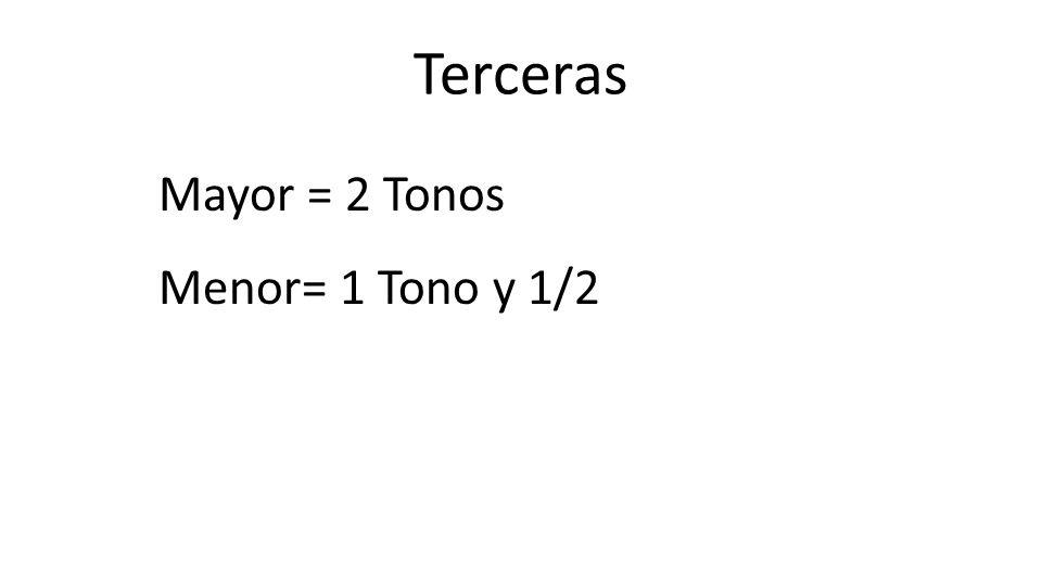 Terceras Mayor = 2 Tonos Menor= 1 Tono y 1/2