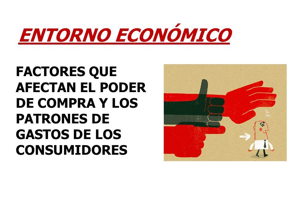 ENTORNO ECONÓMICO FACTORES QUE AFECTAN EL PODER DE COMPRA Y LOS PATRONES DE GASTOS DE LOS CONSUMIDORES.