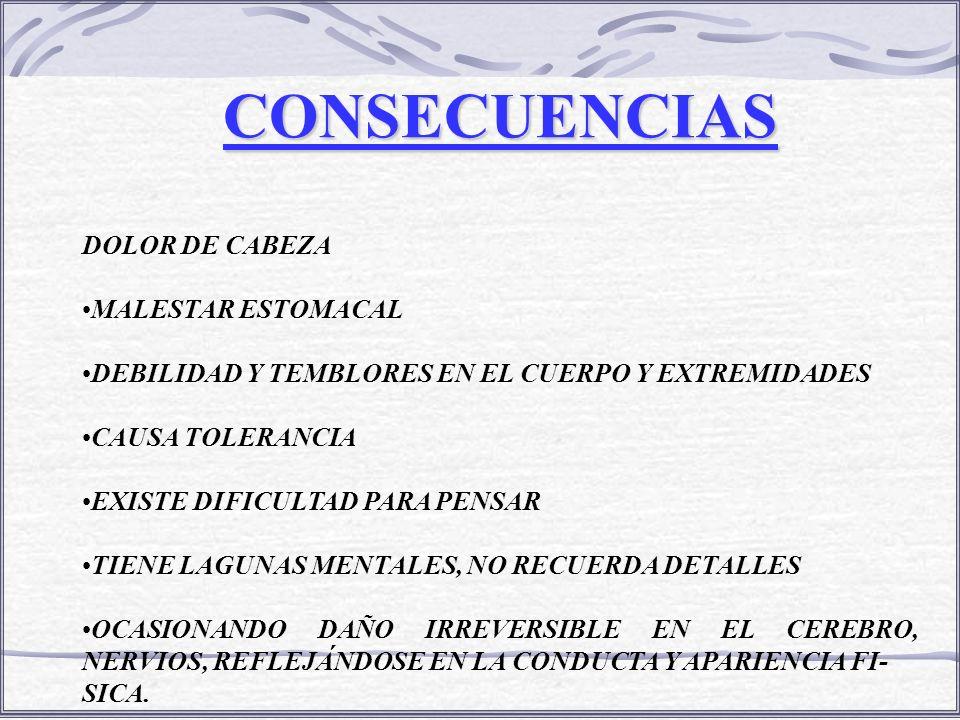 CONSECUENCIAS DOLOR DE CABEZA MALESTAR ESTOMACAL