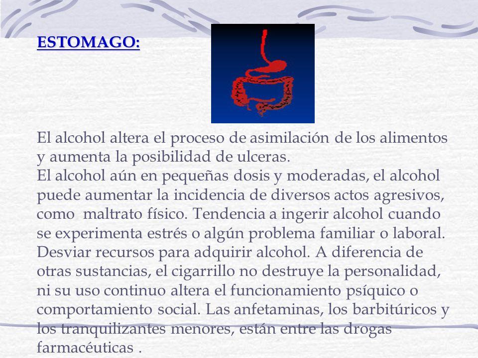 ESTOMAGO:El alcohol altera el proceso de asimilación de los alimentos y aumenta la posibilidad de ulceras.