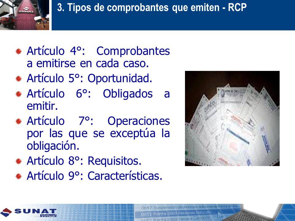 3. Tipos de comprobantes que emiten - RCP