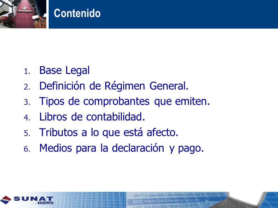 Contenido Base Legal Definición de Régimen General.