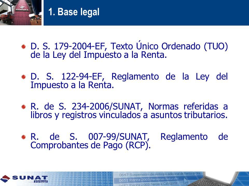 1. Base legal D. S. 179-2004-EF, Texto Único Ordenado (TUO) de la Ley del Impuesto a la Renta.