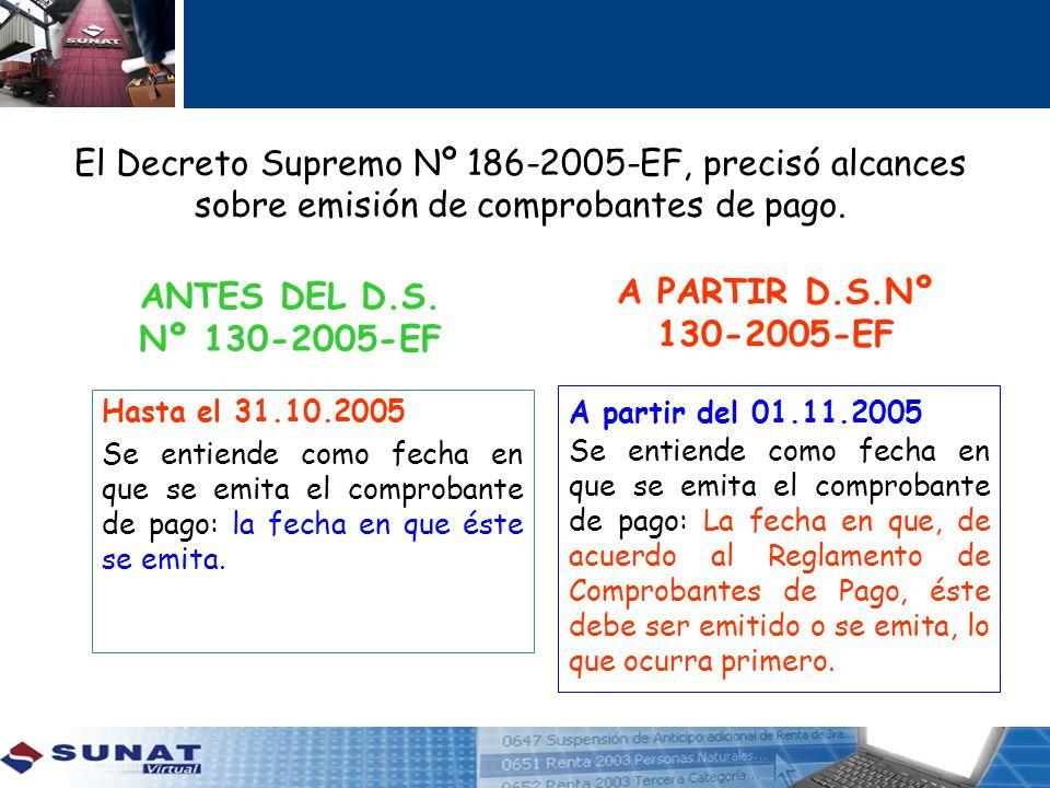 ANTES DEL D.S. Nº 130-2005-EF A PARTIR D.S.Nº 130-2005-EF