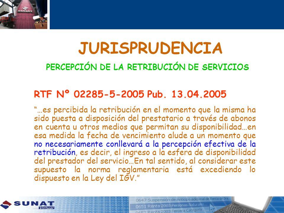 PERCEPCIÓN DE LA RETRIBUCIÓN DE SERVICIOS