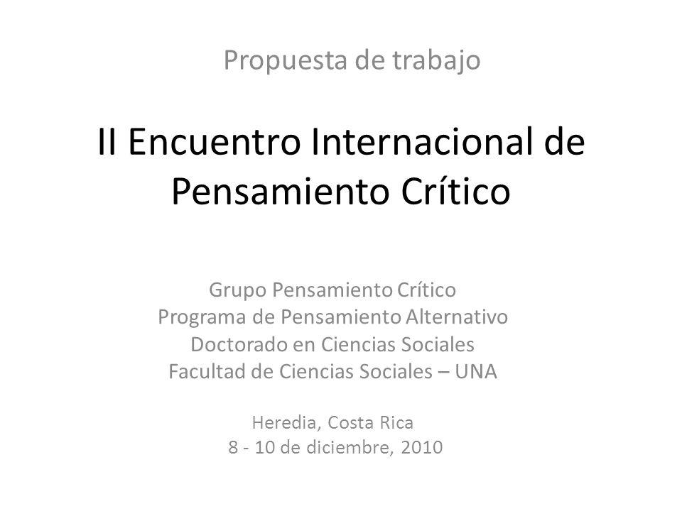 II Encuentro Internacional de Pensamiento Crítico