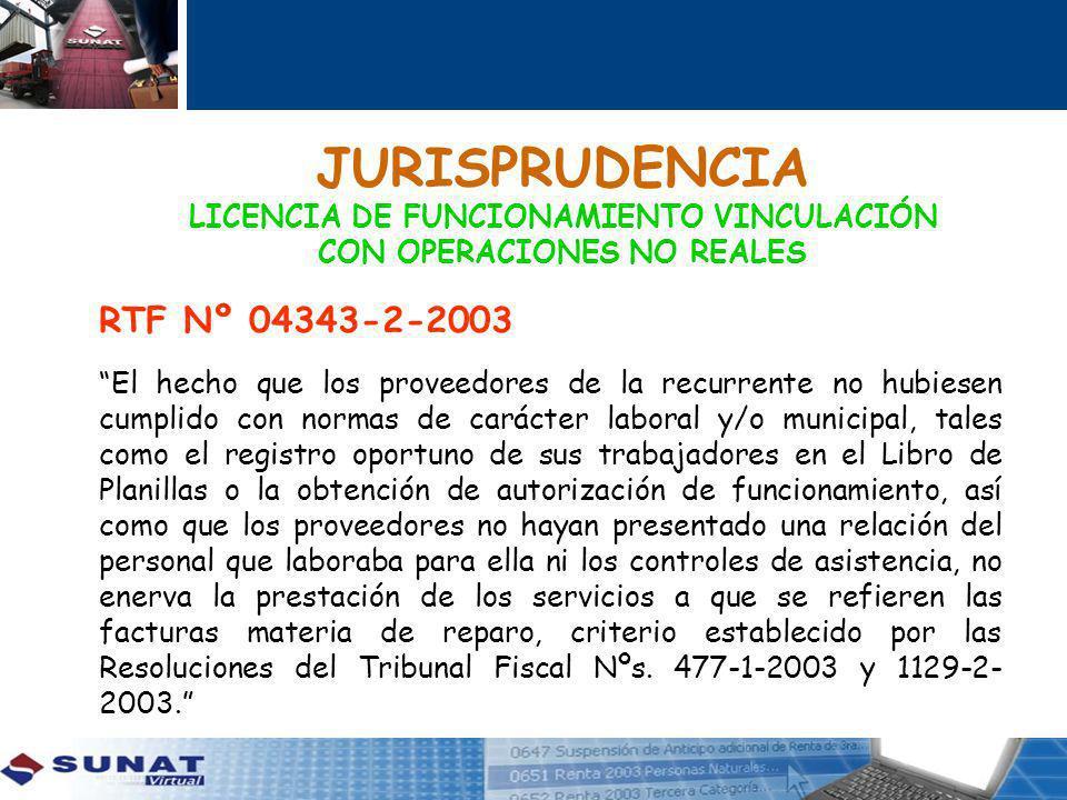 JURISPRUDENCIA LICENCIA DE FUNCIONAMIENTO VINCULACIÓN CON OPERACIONES NO REALES