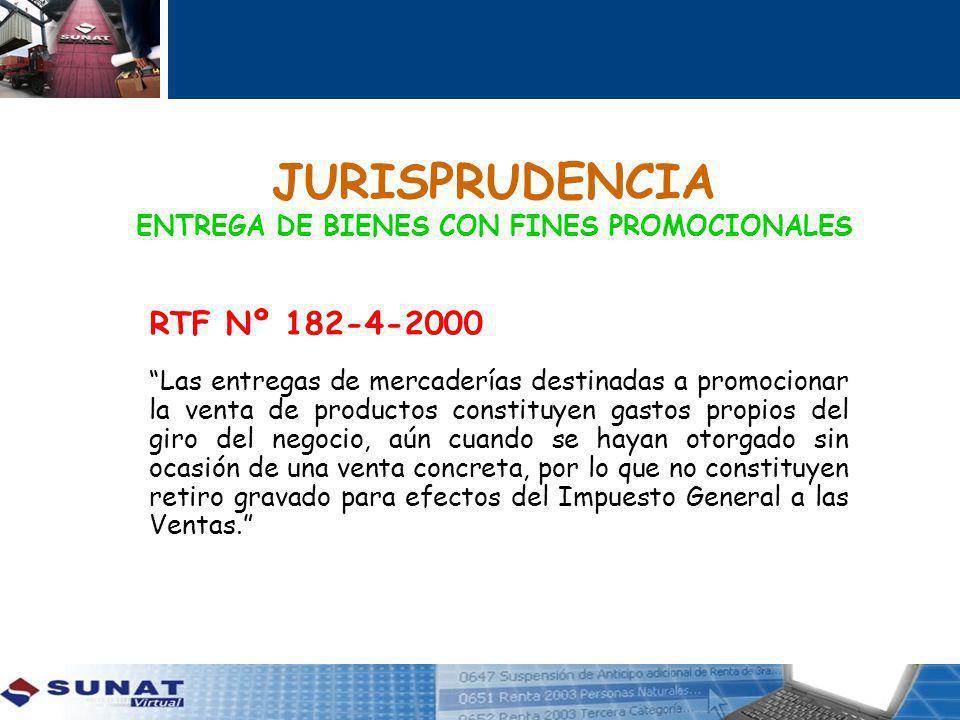 JURISPRUDENCIA ENTREGA DE BIENES CON FINES PROMOCIONALES