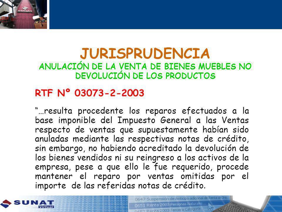 JURISPRUDENCIA ANULACIÓN DE LA VENTA DE BIENES MUEBLES NO DEVOLUCIÓN DE LOS PRODUCTOS