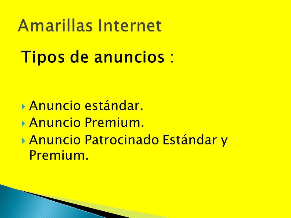 Amarillas Internet Tipos de anuncios : Anuncio estándar.