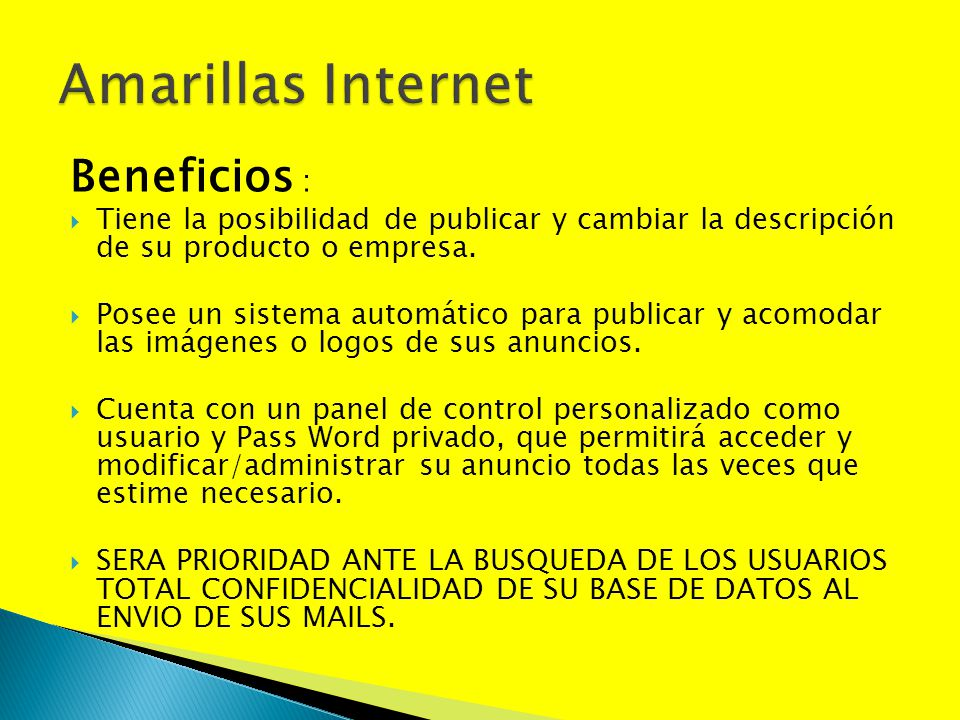 Amarillas Internet Beneficios :