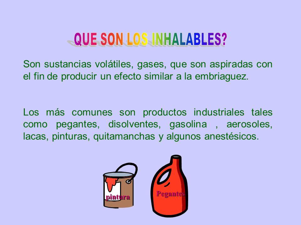 QUE SON LOS INHALABLES Son sustancias volátiles, gases, que son aspiradas con el fin de producir un efecto similar a la embriaguez.