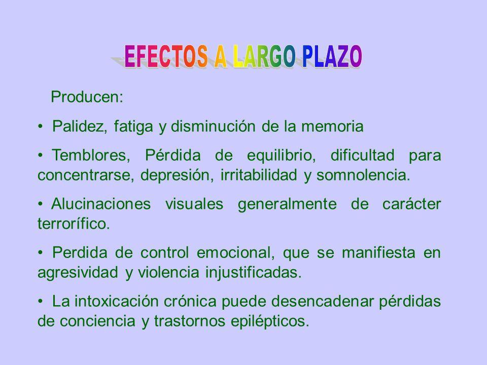 EFECTOS A LARGO PLAZO Producen: Palidez, fatiga y disminución de la memoria.
