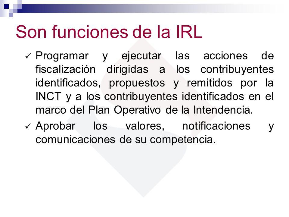 Son funciones de la IRL