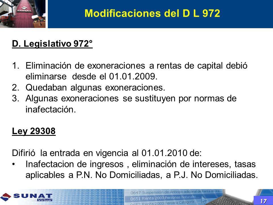 Modificaciones del D L 972 D. Legislativo 972°