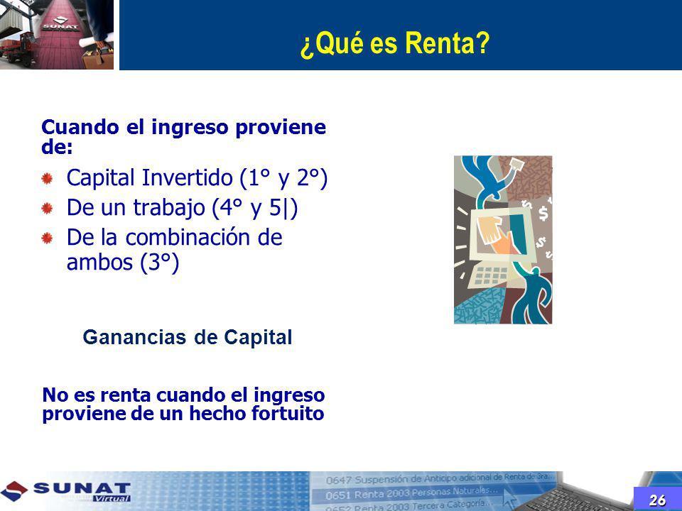 ¿Qué es Renta Capital Invertido (1° y 2°) De un trabajo (4° y 5|)