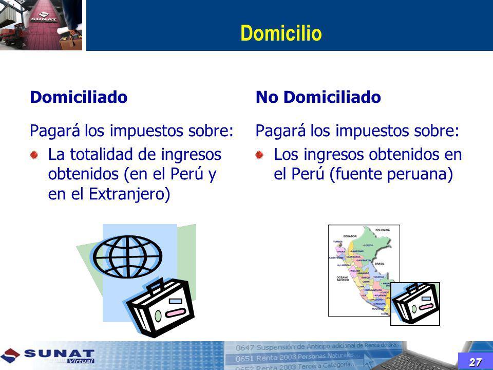 Domicilio Domiciliado No Domiciliado Pagará los impuestos sobre: