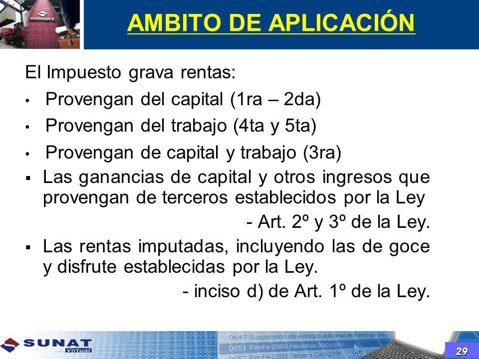 AMBITO DE APLICACIÓN El Impuesto grava rentas: