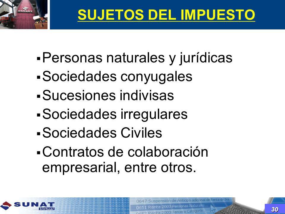 Personas naturales y jurídicas Sociedades conyugales