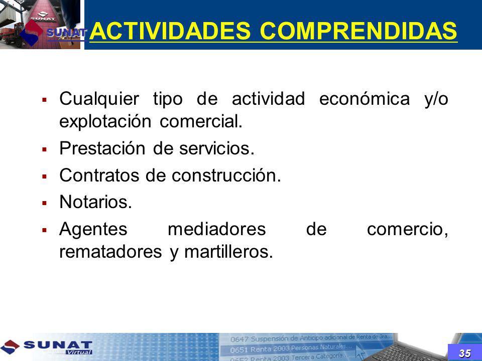 ACTIVIDADES COMPRENDIDAS