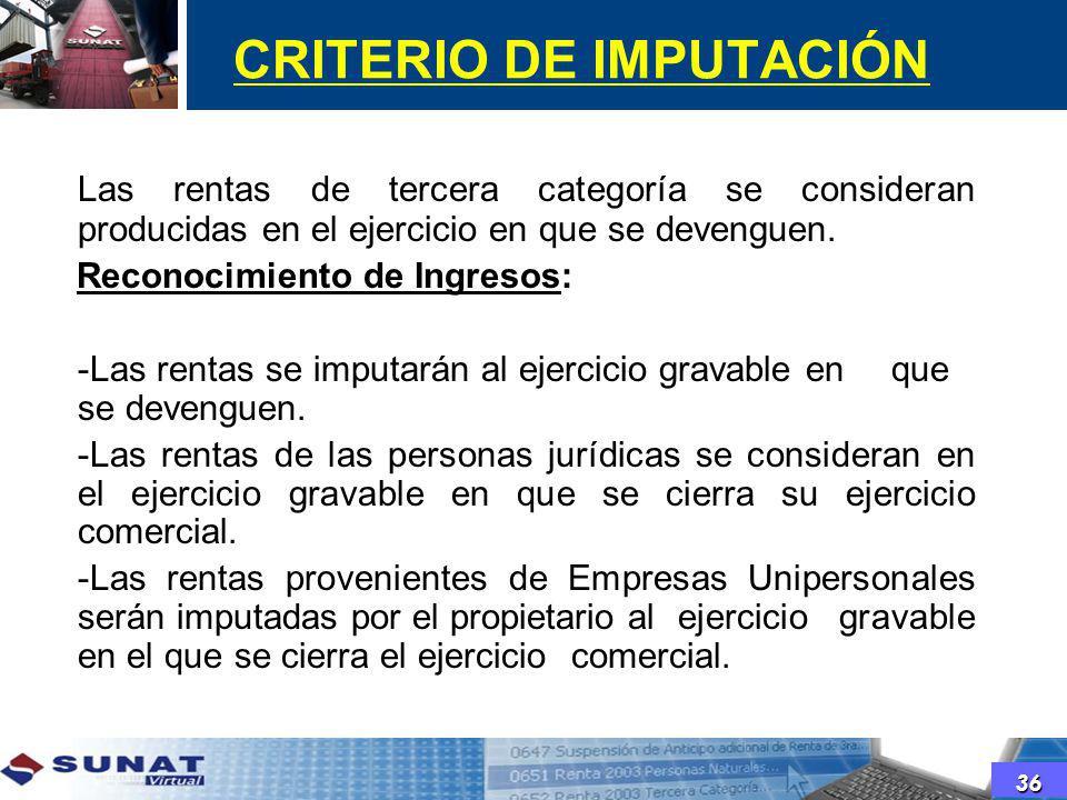 CRITERIO DE IMPUTACIÓN