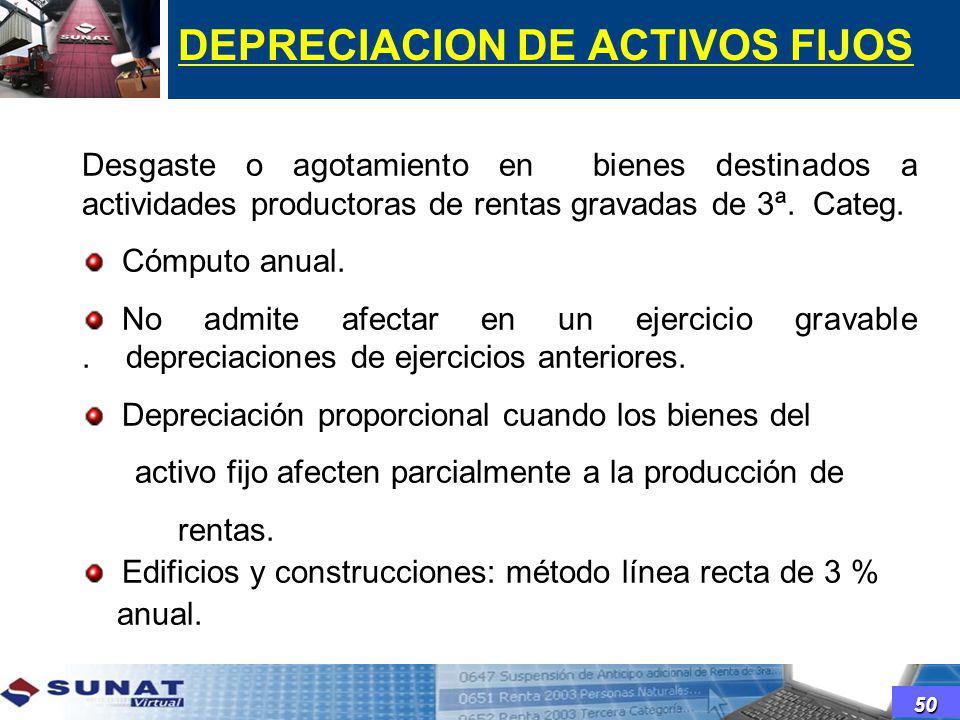 DEPRECIACION DE ACTIVOS FIJOS
