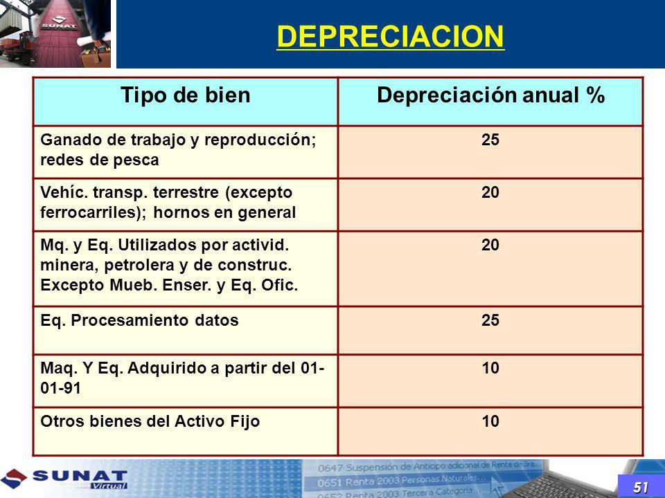 DEPRECIACION Tipo de bien Depreciación anual %
