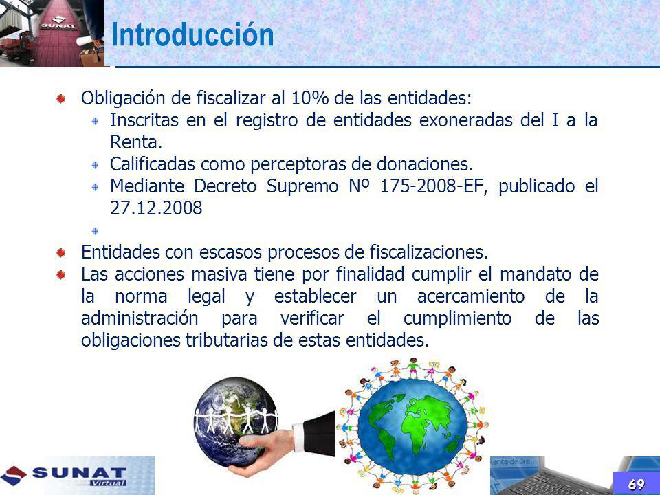Introducción Obligación de fiscalizar al 10% de las entidades: