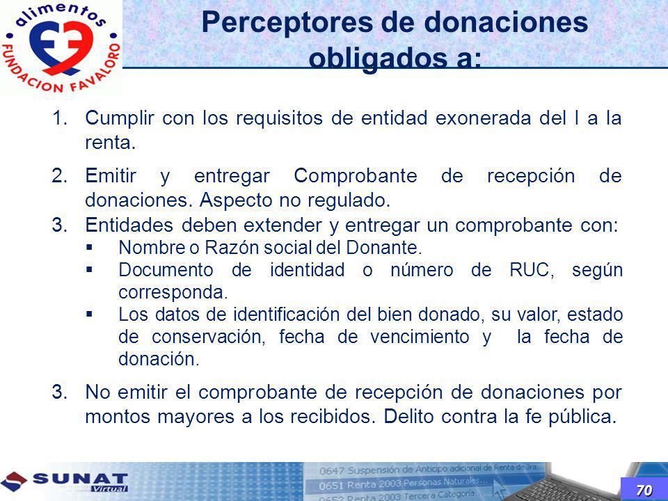 Perceptores de donaciones