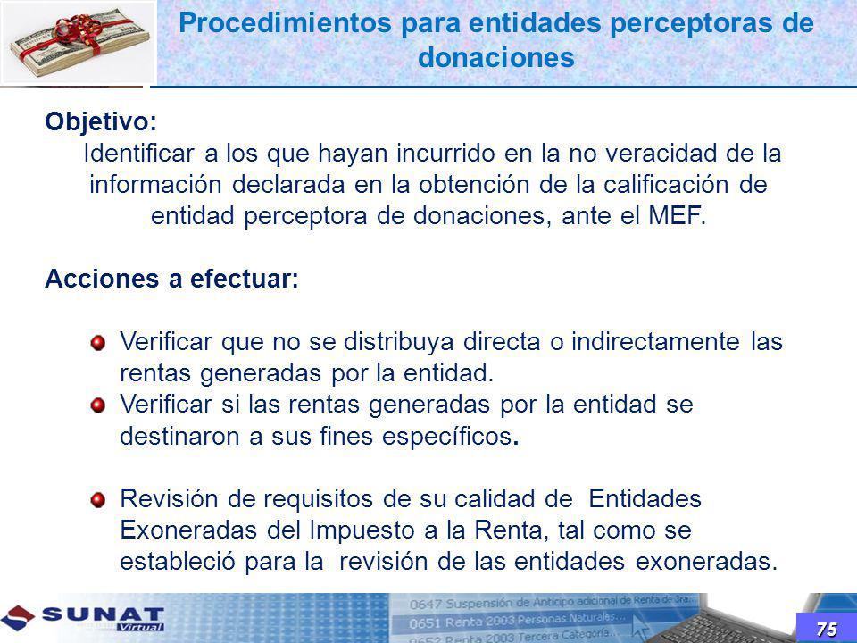 Procedimientos para entidades perceptoras de donaciones