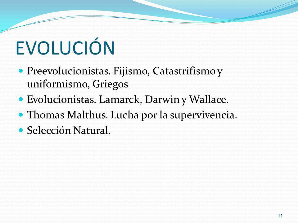 EVOLUCIÓN Preevolucionistas. Fijismo, Catastrifismo y uniformismo, Griegos. Evolucionistas. Lamarck, Darwin y Wallace.