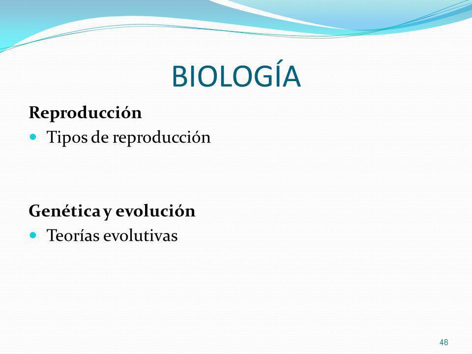 BIOLOGÍA Reproducción Tipos de reproducción Genética y evolución