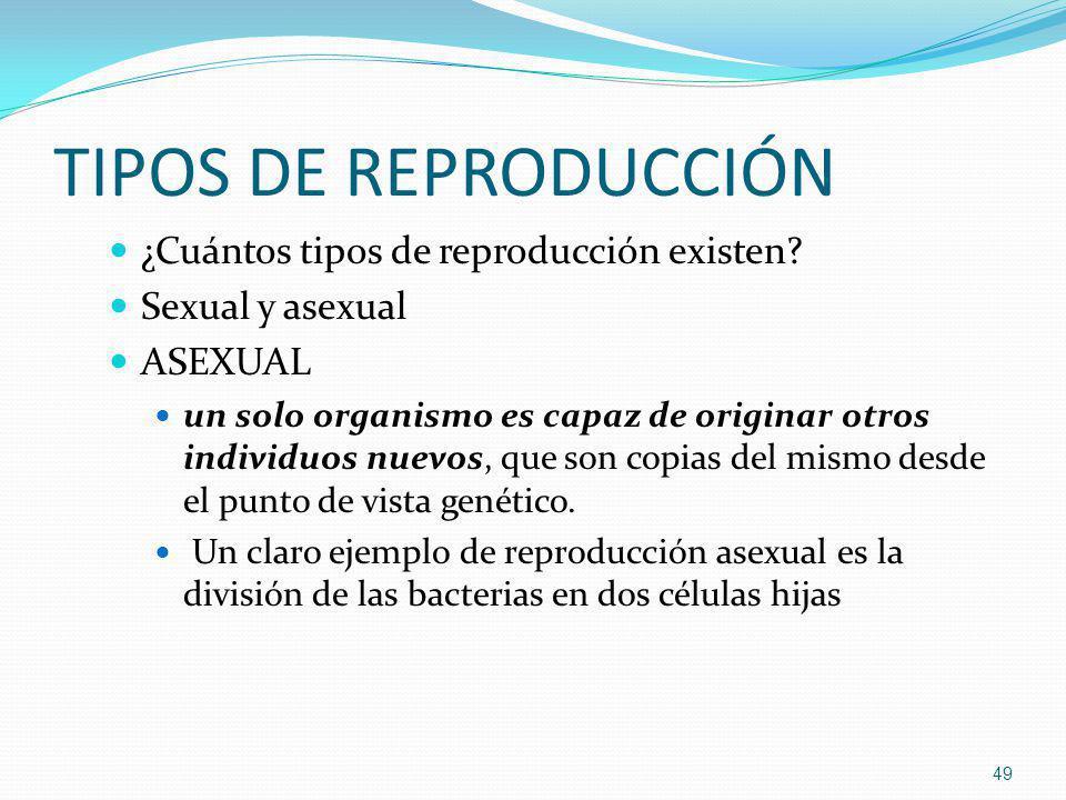 TIPOS DE REPRODUCCIÓN ¿Cuántos tipos de reproducción existen