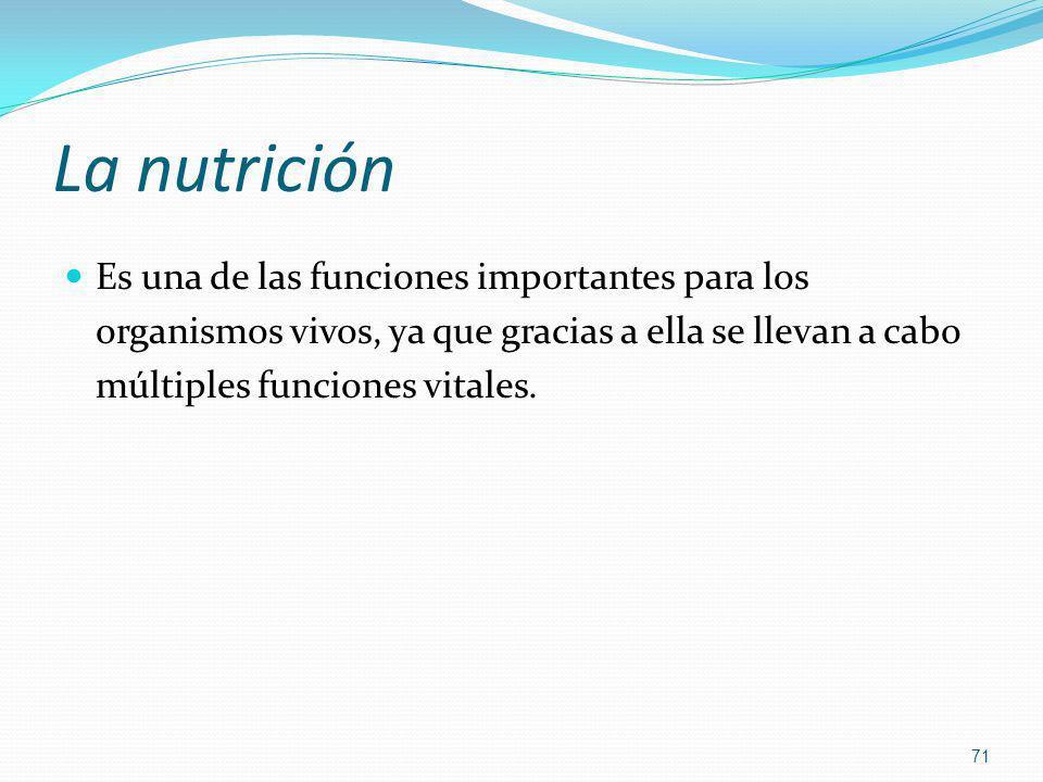 La nutrición Es una de las funciones importantes para los organismos vivos, ya que gracias a ella se llevan a cabo múltiples funciones vitales.