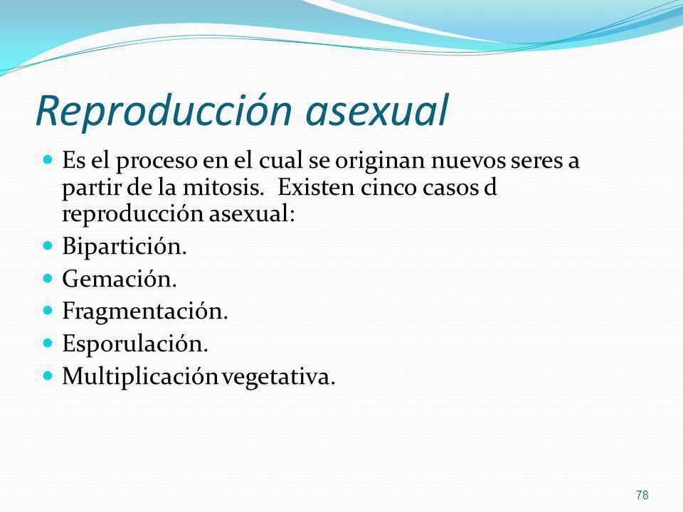 Reproducción asexual Es el proceso en el cual se originan nuevos seres a partir de la mitosis. Existen cinco casos d reproducción asexual: