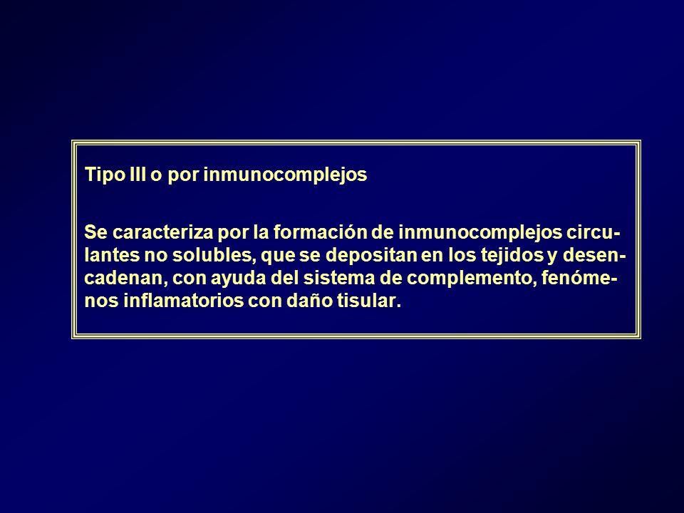 Tipo III o por inmunocomplejos