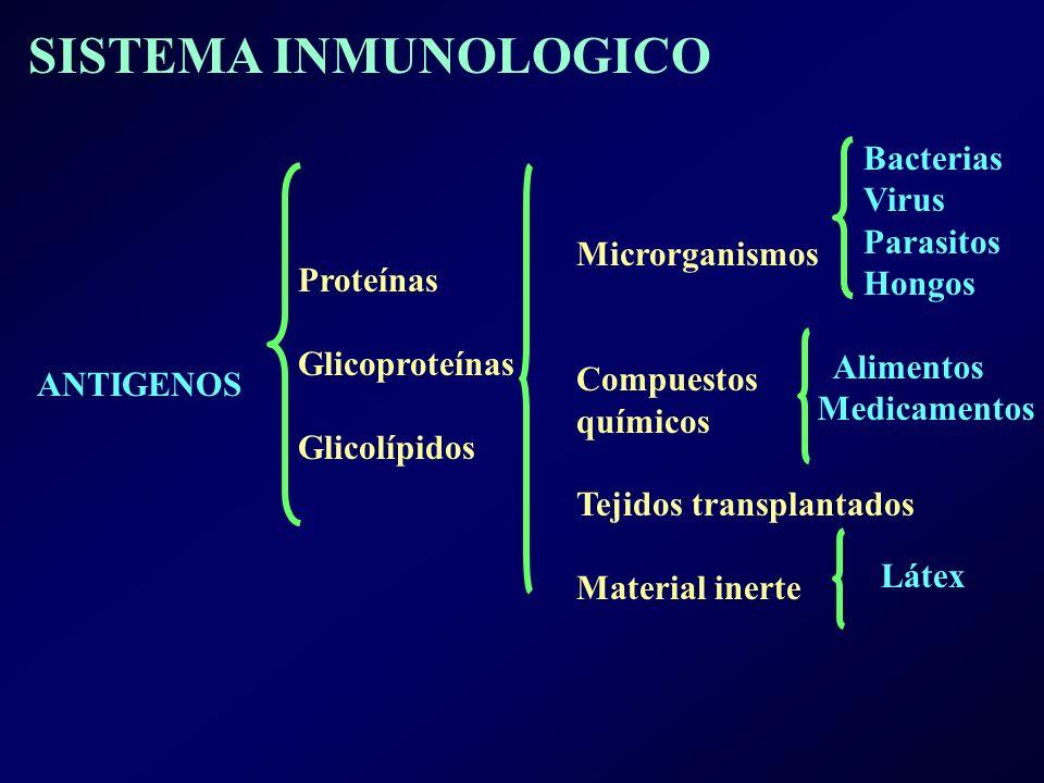 SISTEMA INMUNOLOGICO Bacterias Virus Parasitos Hongos Microrganismos