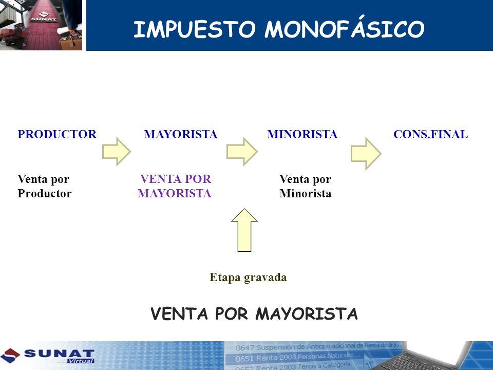 IMPUESTO MONOFÁSICO VENTA POR MAYORISTA