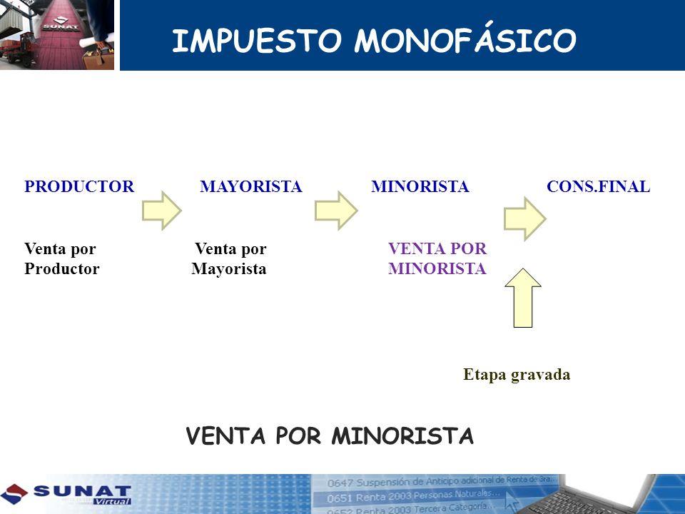 IMPUESTO MONOFÁSICO VENTA POR MINORISTA