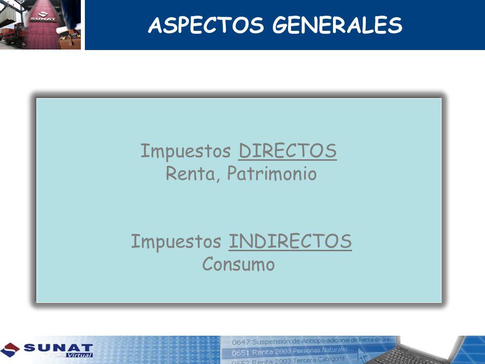 ASPECTOS GENERALES Impuestos DIRECTOS Renta, Patrimonio