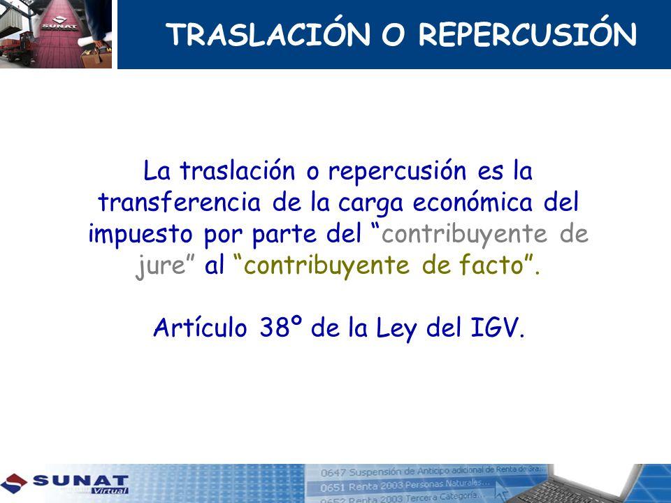 TRASLACIÓN O REPERCUSIÓN