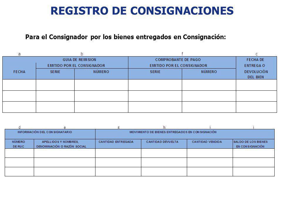 REGISTRO DE CONSIGNACIONES